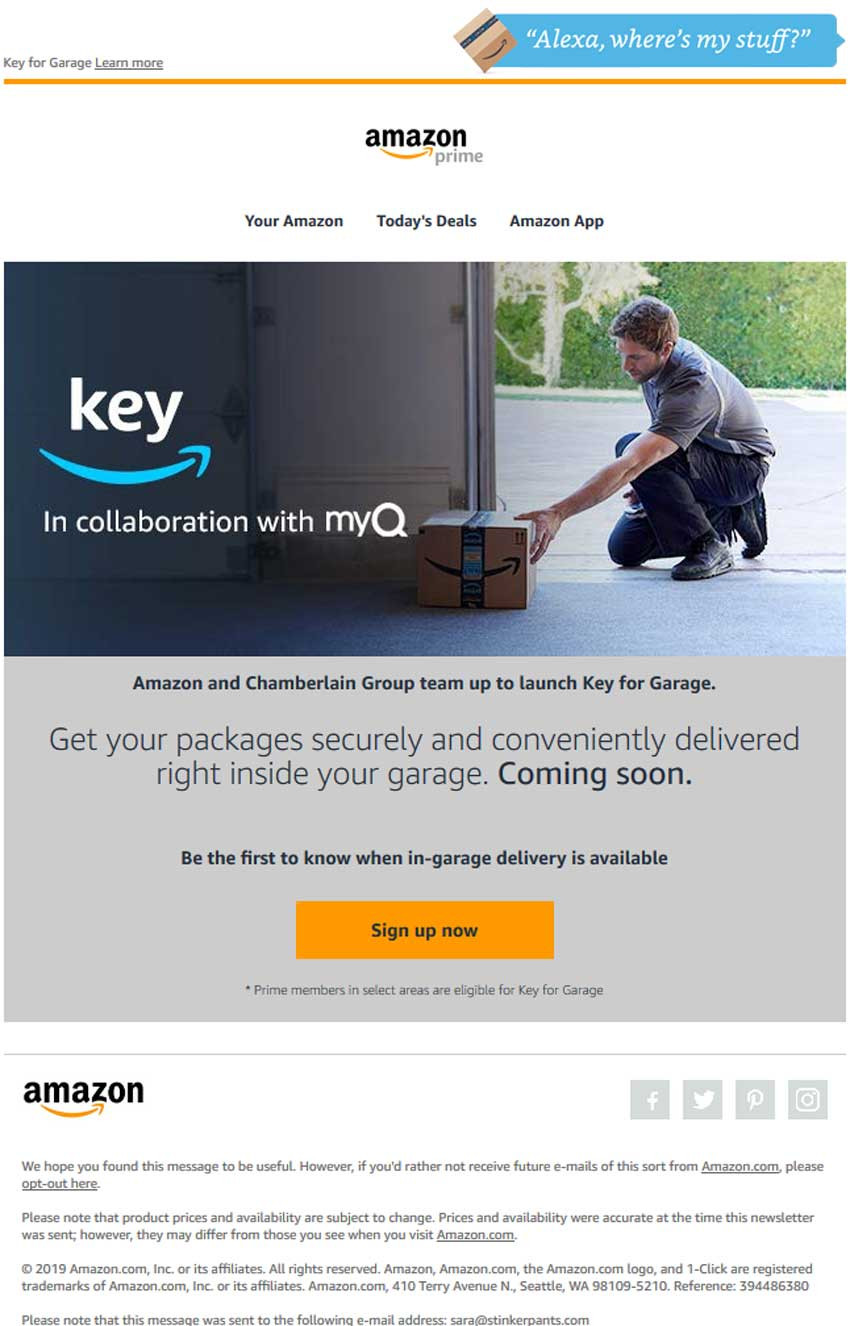 Amazon Key for Garage email