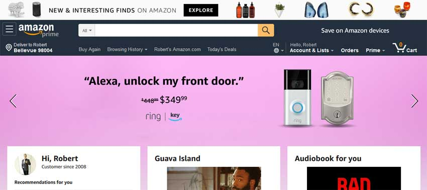 Amazon Key for Home + Ring Video Doorbell screenshot showing amazon.com homepage