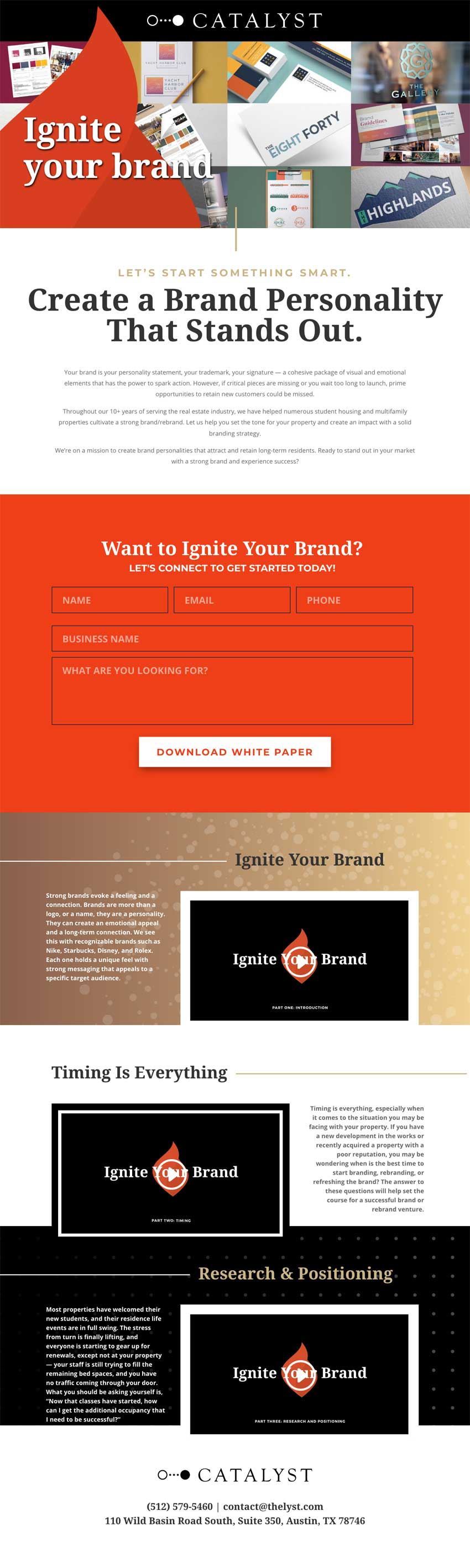 Campus Advantage landing page for Ignite Your Brand campaign
