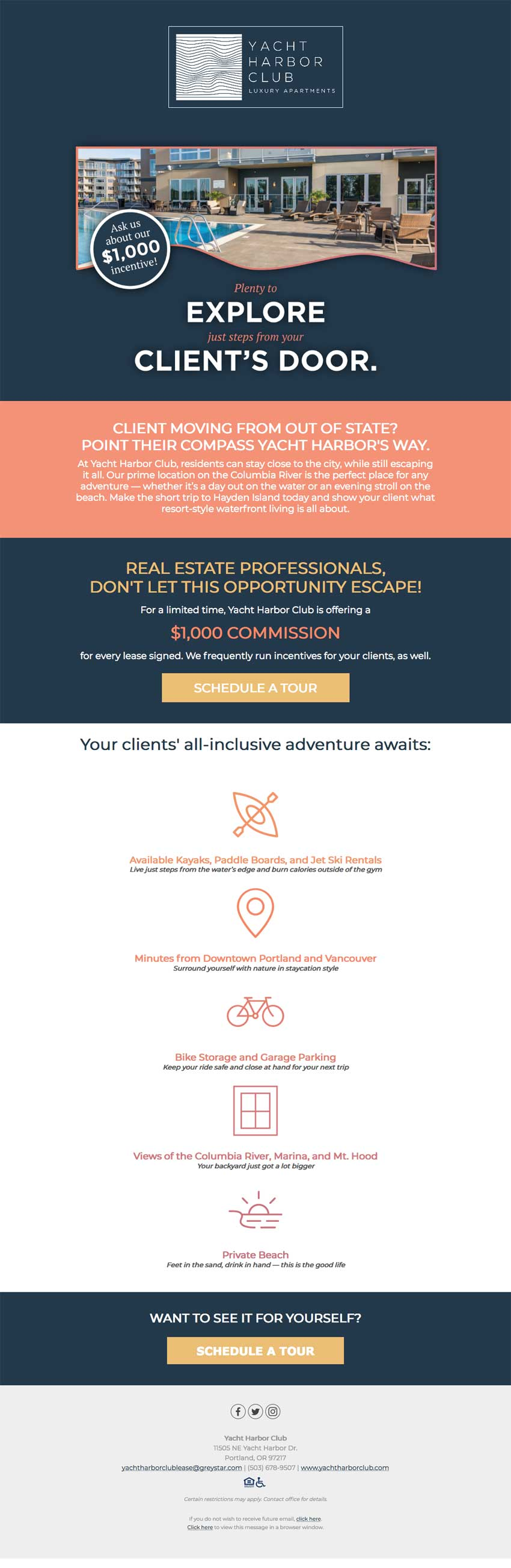 Campus Advantage Realtor campaign for Yacht Harbor email #2