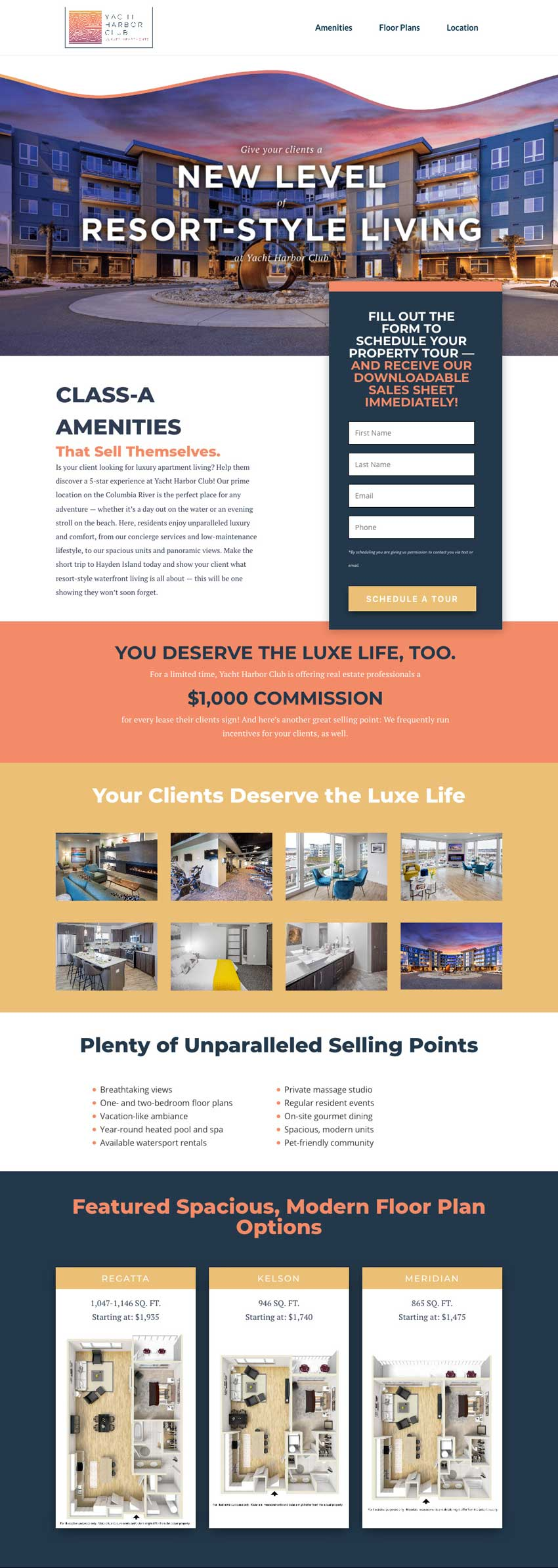 Campus Advantage Realtor campaign for Yacht Harbor landing page