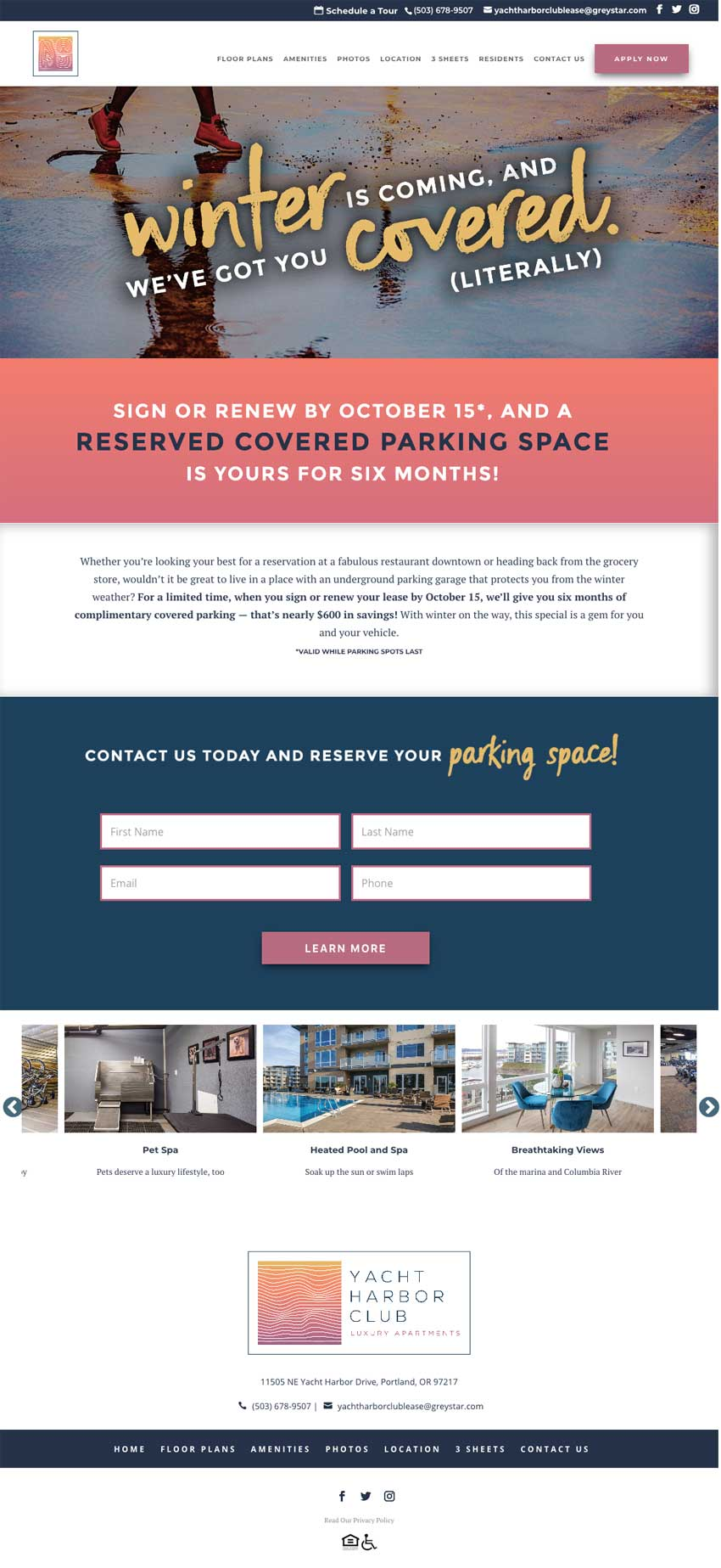 Campus Advantage landing page for Yacht Harbor Free Parking campaign